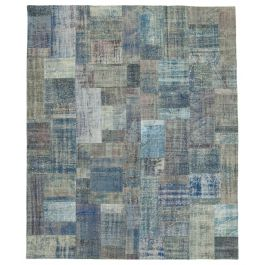 Hand-knotted Anatolian Blue Wool Large Patchwork Rug