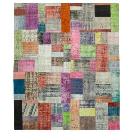 Handwoven Turkish Multi Low Pile Large Patchwork Rug