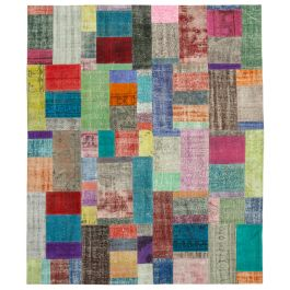 Handwoven Turkish Multi Over-dyed Large Patchwork Rug