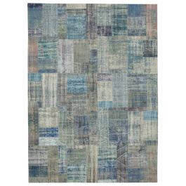 Handwoven Oriental Blue Overdyed Large Patchwork Rug