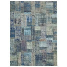Hand-knotted Turkish Blue Unique Large Patchwork Rug