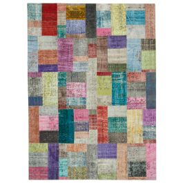 Hand-knotted Turkish Multi Bohemian Large Patchwork Carpet