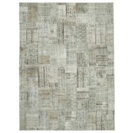 Hand-knotted Anatolian Grey Rustic Large Patchwork Carpet