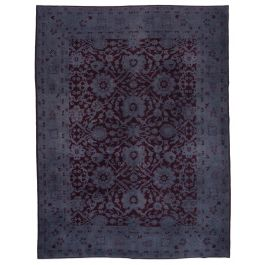 Hand-knotted Turkish Purple Unique Large Overdyed Rug