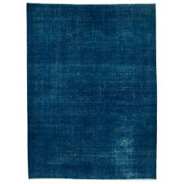 Handwoven Anatolian Blue Distressed Large Colorful Rug