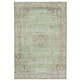 Hand-knotted Anatolian Green Rustic Vintage Carpet