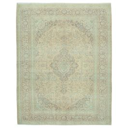 Hand-knotted Anatolian Beige Distressed Large Vintage Rug