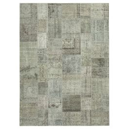 Hand-knotted Anatolian Grey Antique Large Patchwork Rug