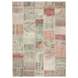 Hand-knotted Turkish Beige Overdyed Large Patchwork Carpet