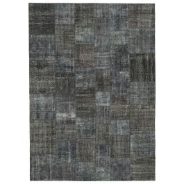 Handmade Oriental Grey One-of-a-Kind Large Patchwork Rug