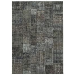 Hand-knotted Oriental Grey Wool Large Patchwork Carpet