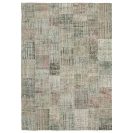 Hand-knotted Turkish Grey Colorful Large Patchwork Carpet