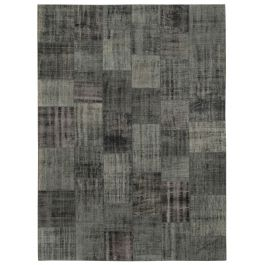 Hand-knotted Turkish Black Low Pile Large Patchwork Carpet