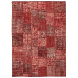Hand-knotted Anatolian Red Wool Large Patchwork Rug