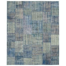 Hand-knotted Turkish Blue Overdyed Large Patchwork Carpet