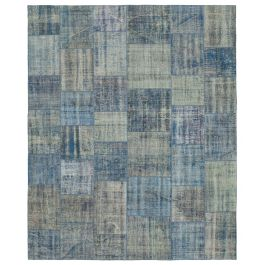 Hand-knotted Oriental Blue Traditional Large Patchwork Carpet