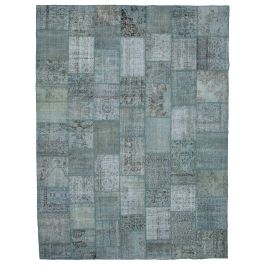Hand-knotted Turkish Blue Low Pile Large Patchwork Carpet