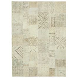 Hand-knotted Oriental Beige Faded Large Patchwork Carpet