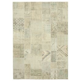 Handwoven Anatolian Beige Distressed Large Patchwork Rug