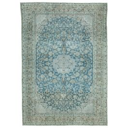 Hand-knotted Anatolian Blue Rustic Large Vintage Rug