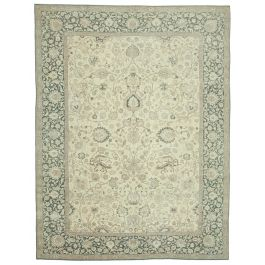 Hand-knotted Anatolian Beige Wool Large Vintage Rug