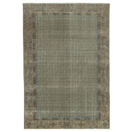 Hand-knotted Oriental Brown Faded Large Vintage Rug