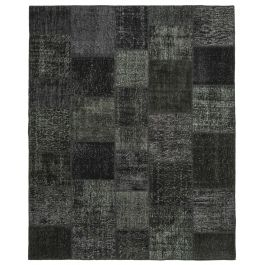 Hand-knotted Oriental Black Wool Large Patchwork Carpet