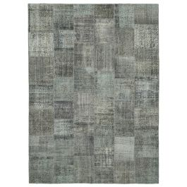 Hand-knotted Oriental Grey Decorative Large Patchwork Carpet