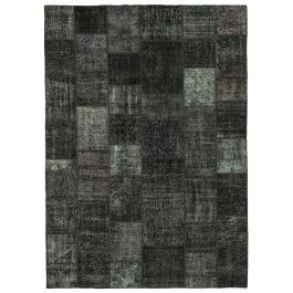 Hand-knotted Turkish Black Colorful Large Patchwork Carpet