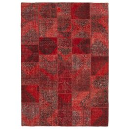 Hand-knotted Anatolian Red Rustic Large Patchwork Carpet