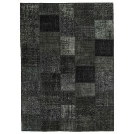 Handwoven Oriental Black Overdyed Large Patchwork Rug