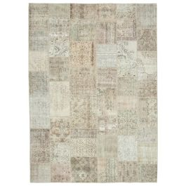 Handwoven Anatolian Beige Distressed Large Patchwork Carpet