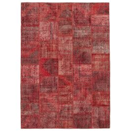 Hand-knotted Turkish Red Bohemian Large Patchwork Carpet