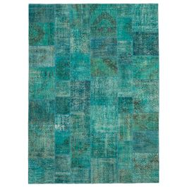 Handwoven Anatolian Turquoise Wool Large Patchwork Rug
