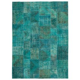 Handwoven Oriental Turquoise Decorative Large Patchwork Rug