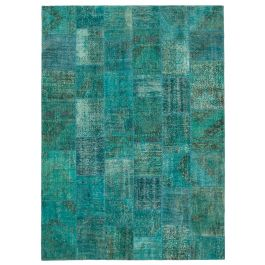 Hand-knotted Turkish Turquoise Low Pile Large Patchwork Carpet