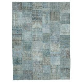 Handmade Oriental Blue One-of-a-Kind Large Patchwork Rug