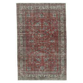 Handwoven Oriental Red Faded Area Carpet