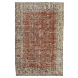 Hand-knotted Anatolian Red Distressed Vintage Carpet
