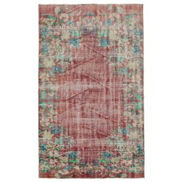 Hand-knotted Turkish Red Vintage Area Carpet