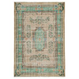 Hand-knotted Turkish Green Bohemian Vintage Carpet