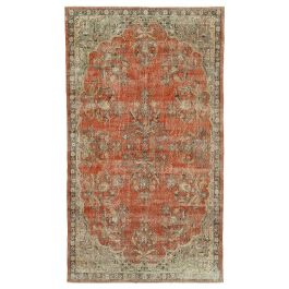 Hand-knotted Turkish Red Unique Vintage Rug