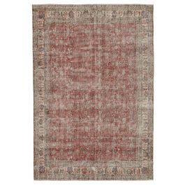 Handwoven Anatolian Red Distressed Vintage Carpet