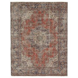 Handwoven Turkish Red Contemporary Vintage Rug