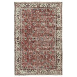 Hand-knotted Oriental Red Faded Vintage Carpet