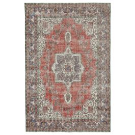 RHand-knotted Turkish Red Vintage Area Rug