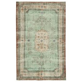 Hand-knotted Turkish Green Vintage Area Carpet