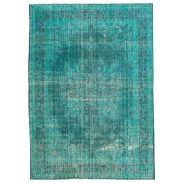 Handmade Turkish Turquoise Contemporary Large Over-dyed Rug