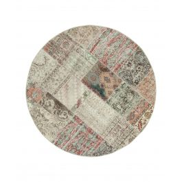 Hand-knotted Anatolian Beige Wool Round Patchwork Rug