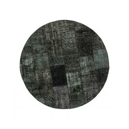 Hand-knotted Anatolian Black Antique Round Patchwork Rug